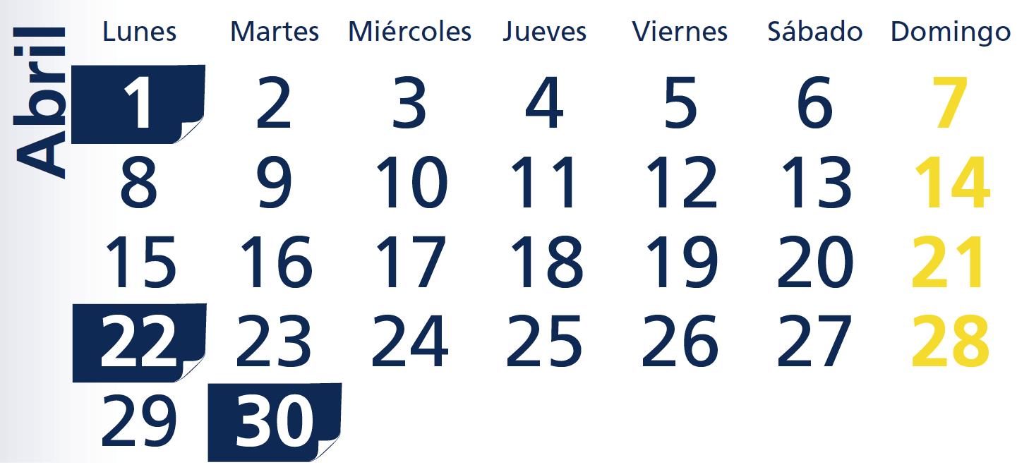 Calendario AEAT Abril 2013