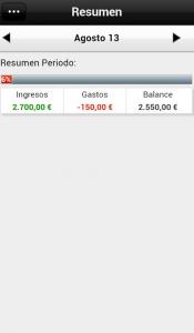 Imagen del balance de la app de Contamoney