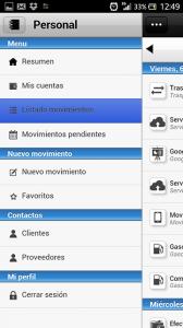 Imagen del menu de la app de contabilidad Contamoney
