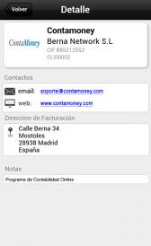 Imagen de la ficha de clientes y proveedores en la app de Contamoney